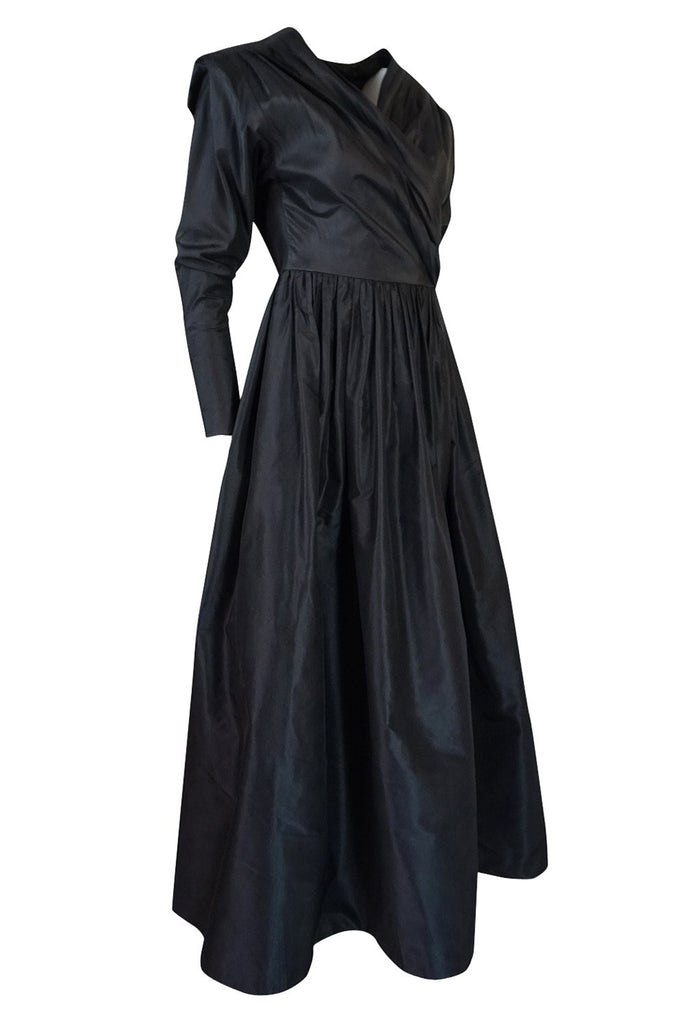 F/W 1986 Yves Saint Laurent Black Silk Taffeta Full Skirted Dress