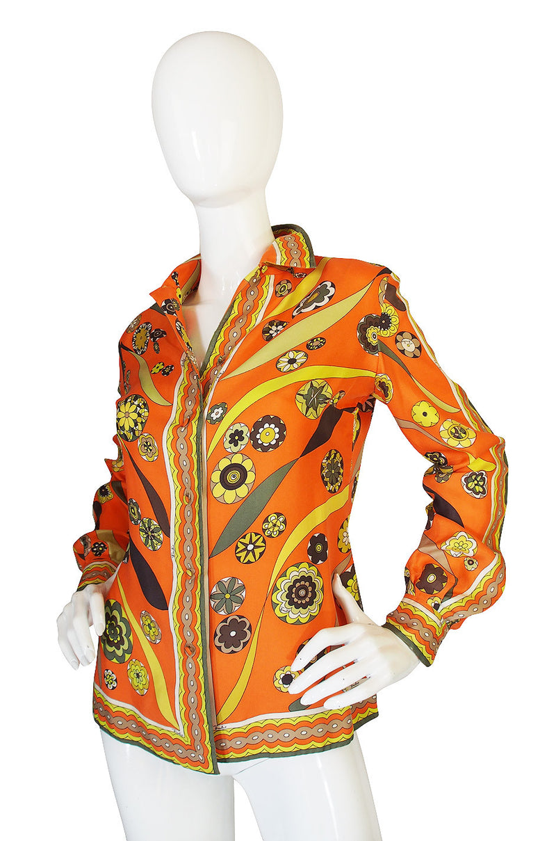 1960s Gorgeous Citrus Emilio Pucci Silk Twill Top
