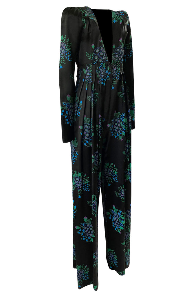 c. 1974 Ossie Clark Celia 'One Step Two Step' Celia Birtwell Print Black Jumpsuit