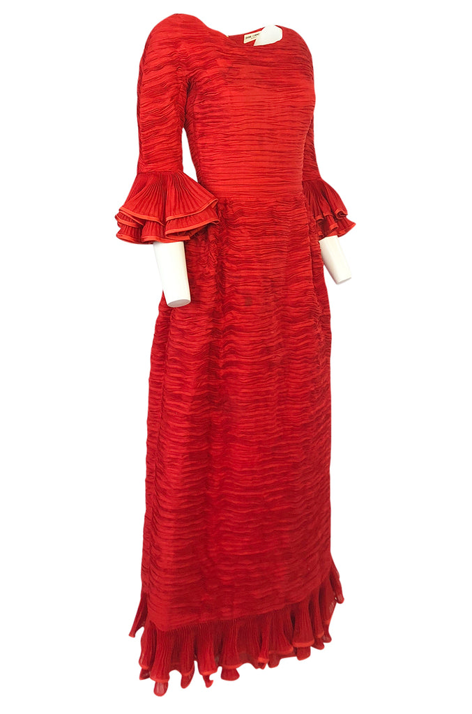 1960s Sybil Connolly Couture 'Non Chalance' Red Ruffled Pleated Linen Dress