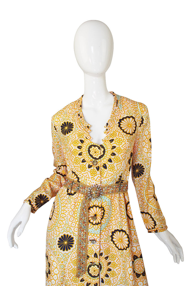 1960s Yellow Print Dressing Robe w Beaded Belt
