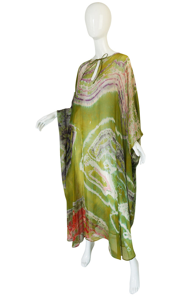 c1972 Potential Halston Silk Chiffon Tie Dye Caftan Dress