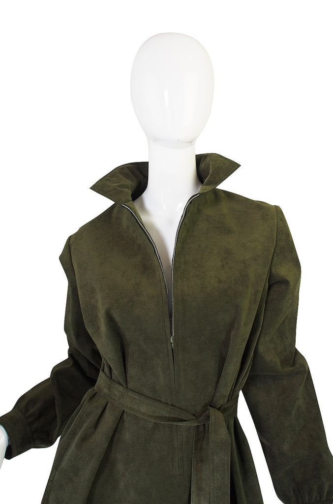 1972 Olive Green Ultrasuede Halston Dress