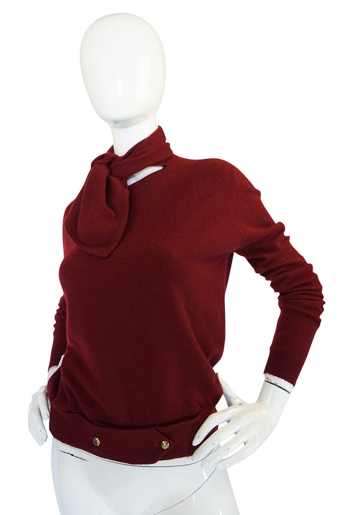 1980s Burgundy 100% Scottish Cashmere Chanel Sweater
