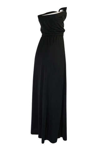 1970s Joy Stevens Black Strapless Jersey Dress w Keyhole