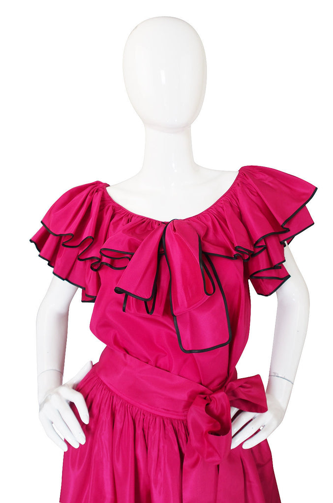 1973 Yves Saint Laurent Pink Silk Ruffle Set