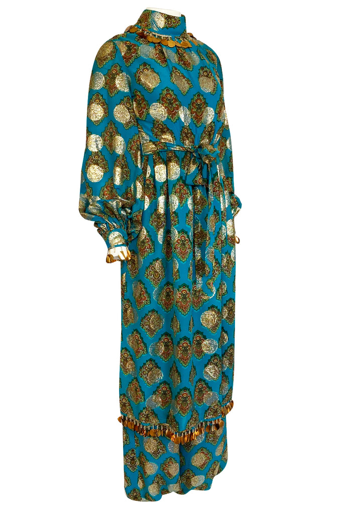 1960s Donald Brooks Couture Turquoise & Gold Tunic Dress and Harem Pant Set