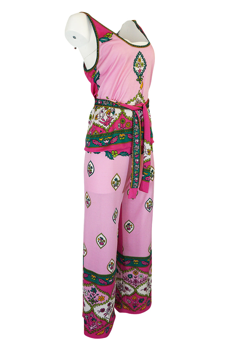 1970s Paganne Three Piece Printed Pink Jersey Tank Top & Pant Set