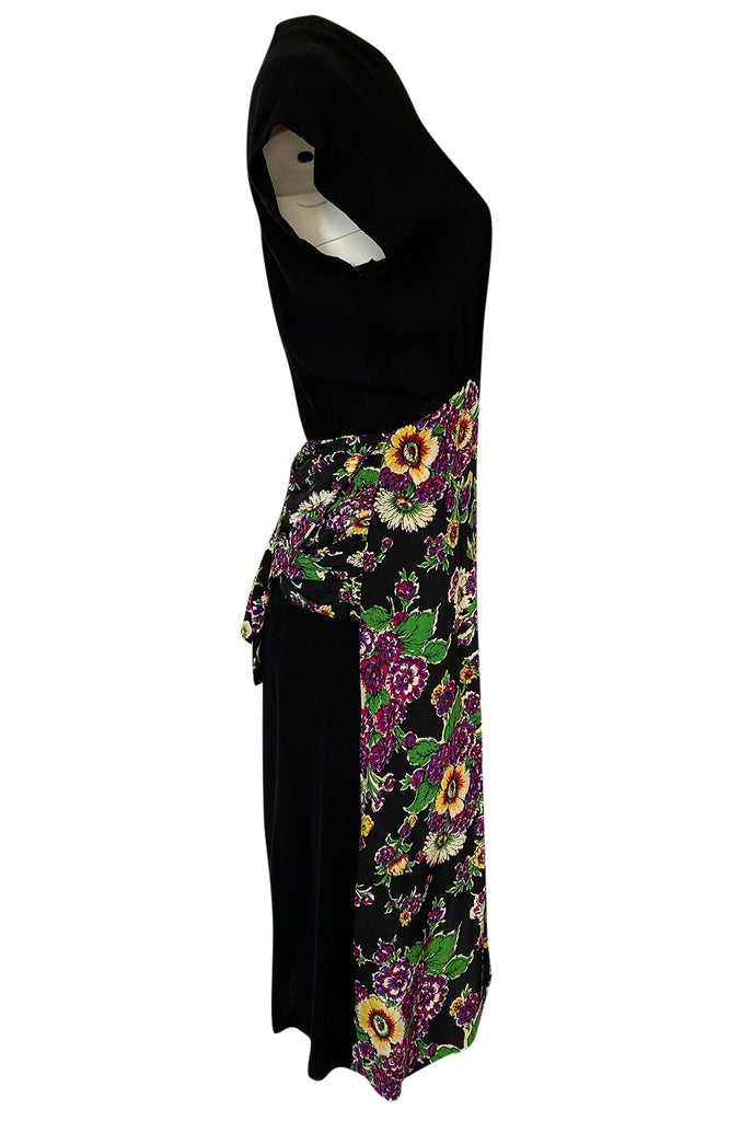 1940s Unlabeled Mixed Silk Crepe & Floral Silky Rayon 'Apron' Dress