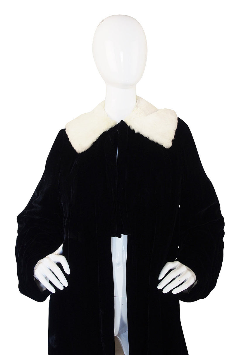 1920s Velvet and Ermine Flapper Coat or Jacket