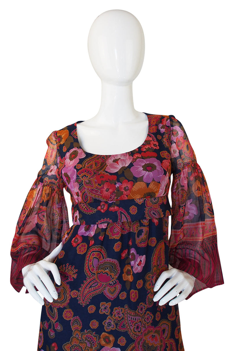 1960s Gorgeous Silk Voile Print Maxi Dress