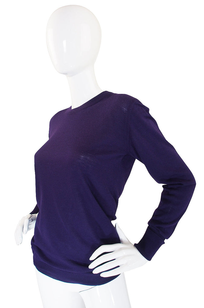 1990s Cashmere & Silk Chanel Purple Sweater