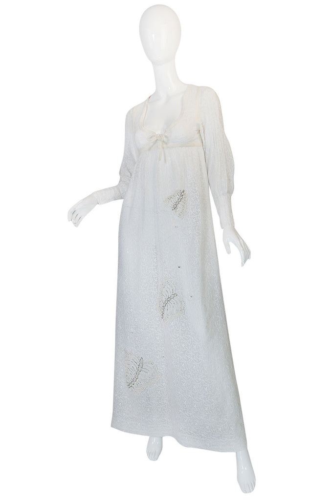 1970s Thea Porter White Embroidered Muslin Butterfly Applique Dress