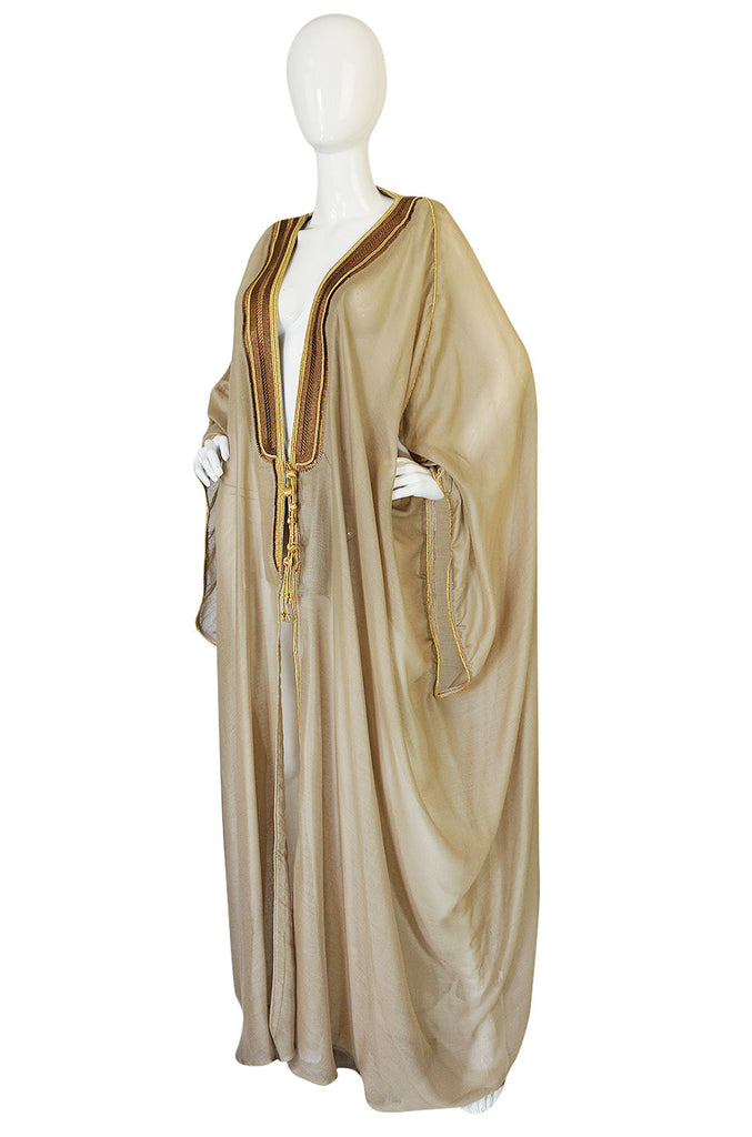 1970s Sand Color Caftan w Gold Thread Embroidered Trim