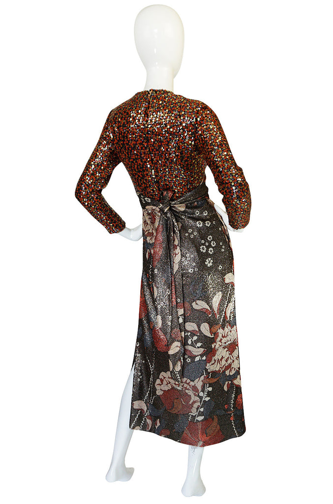 1960s Sequin & Metallic Lurex Bill Blass Dress Set