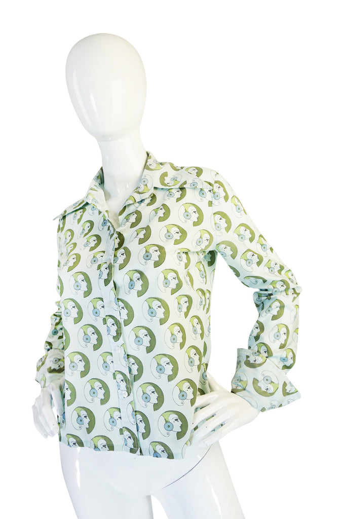 1970s Novelty Print Pointed Collar Button Down Shirt