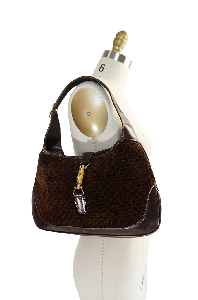 1970s Brown Logo Velvet & Leather Gucci Hobo Bag