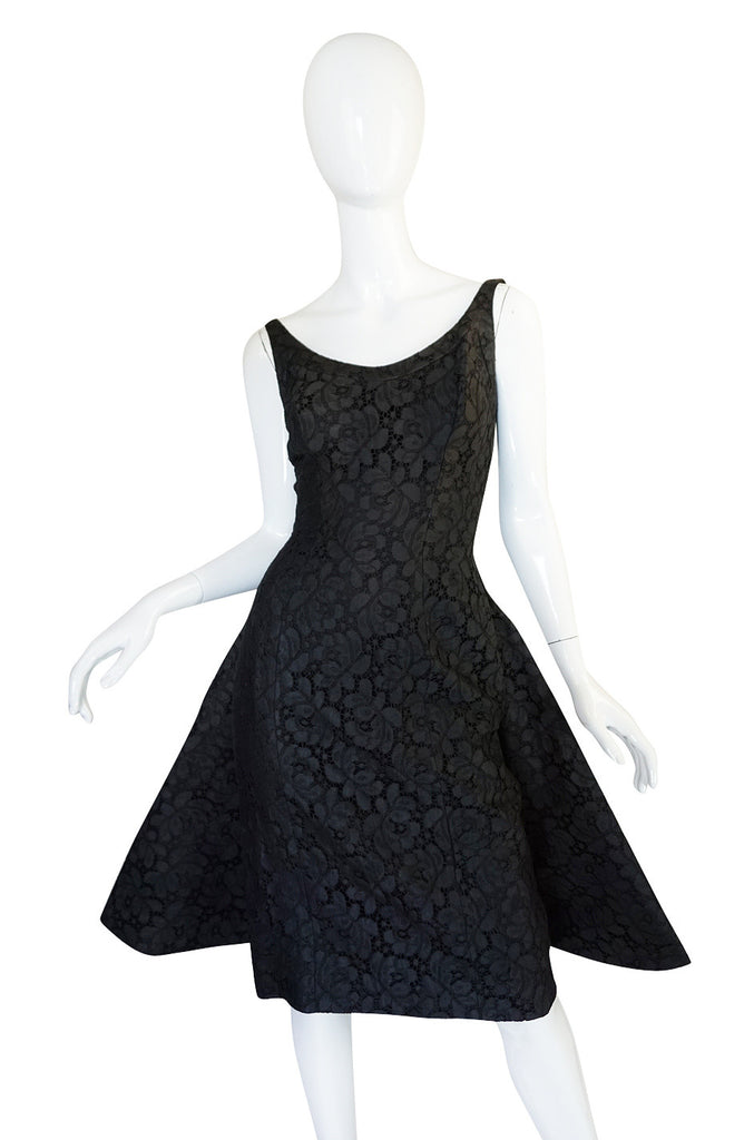 1950s Black Lace Suzy Perette Flared Back Skirt Dress
