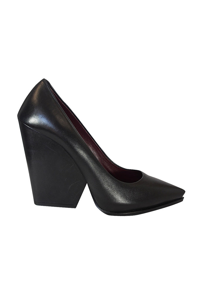 A/W 2012 Celine Black Pointed Wedge Pump 38