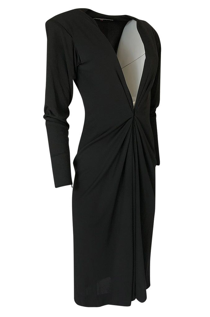 F/W 1985 Yves Saint Laurent Ad Campaign Black Jersey Plunge Dress
