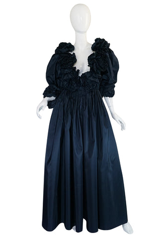 1980s Bill Blass Midnight Blue Silk Taffeta Plunging Ruffled Dress