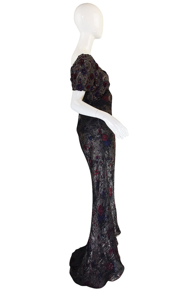 1980s Trained Bellville Sassoon Heavily Beaded Gown