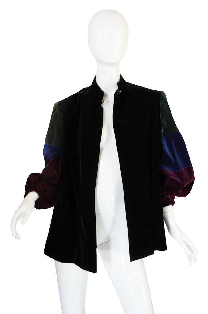 1970s Saint Laurent Multi Color Velvet Smock Jacket