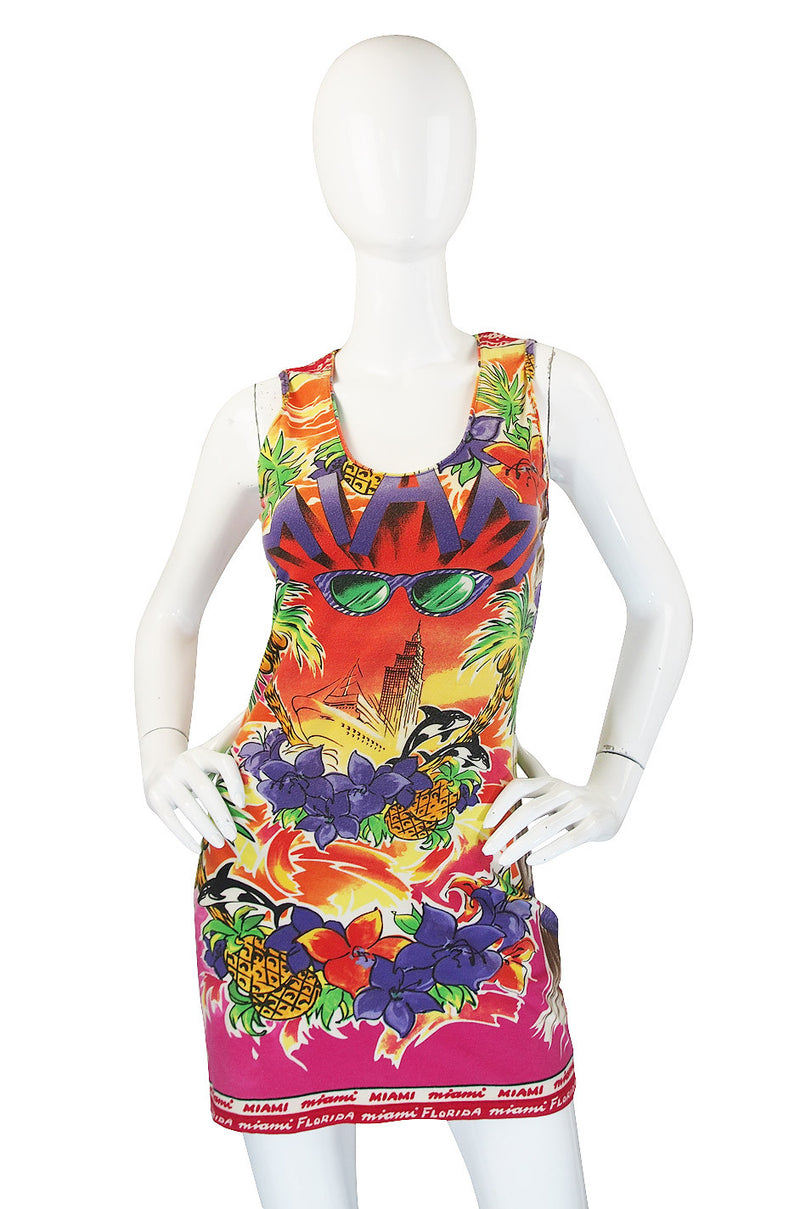 Rare 1990s Versace Couture Miami T Shirt Dress