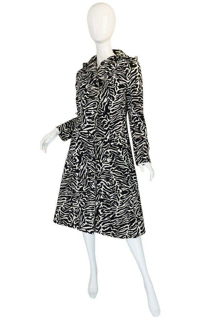 1960s Aquascutum Hooded Zebra Print Hooded Coat