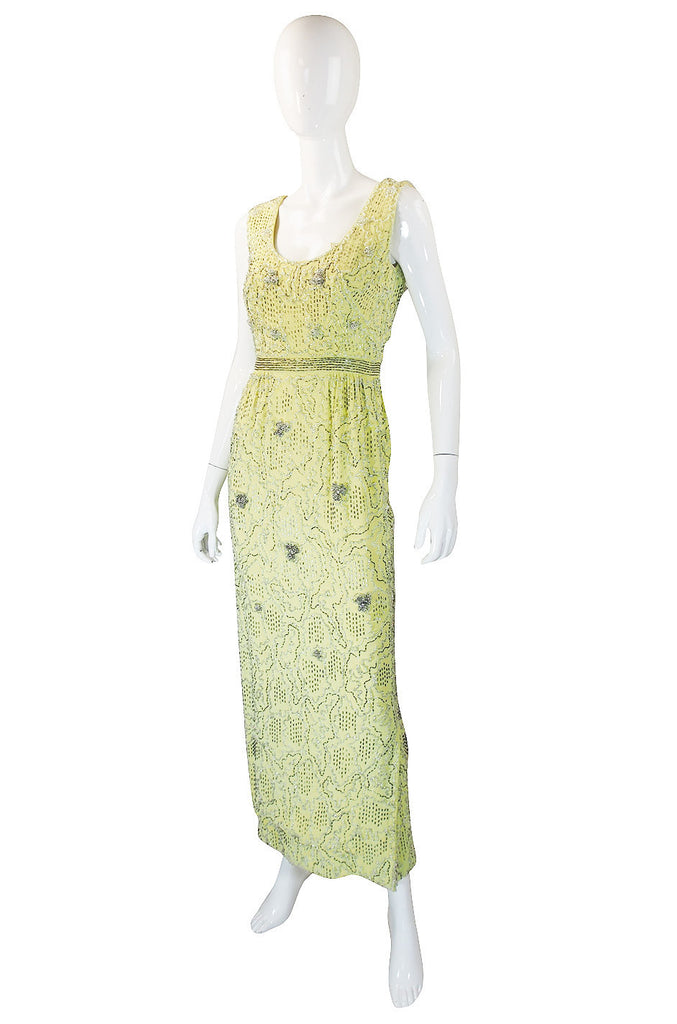 Treasure Item - 1960s Beaded Silk Pale Lemon Malcolm Starr