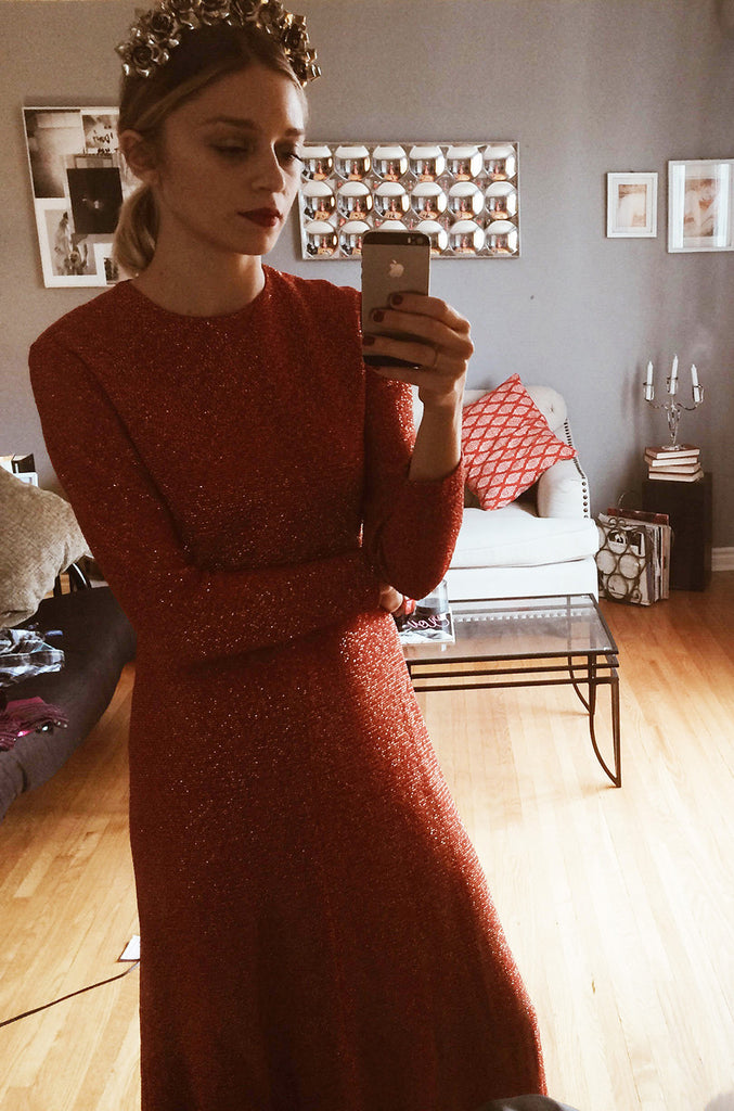 1970s Adele Simpson Coral & Gold Lurex Dress