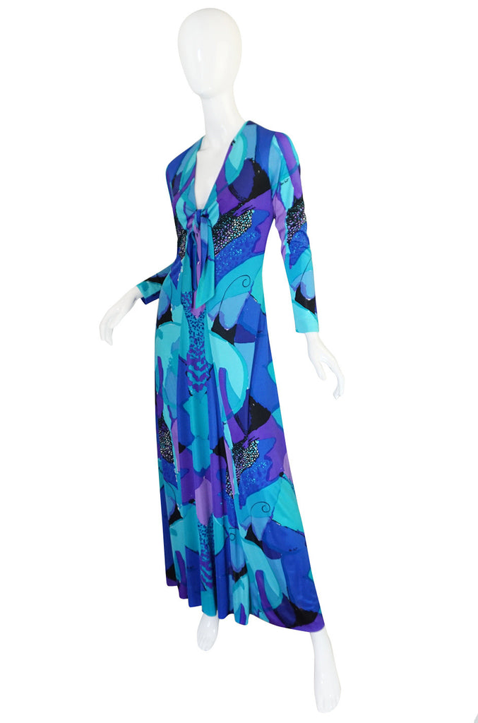 1960s Ocean Blues Ken Scott Hand Printed Jersey Dress