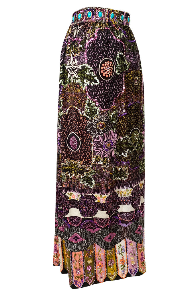 1960s Valentina Beaded & Sequin Elaborate Printed Felt Jersey Maxi Skirt