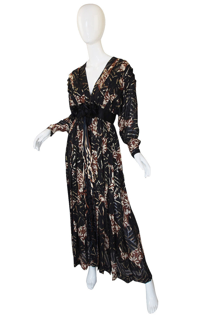 1970s Silk & Gold Thread Galanos Gown