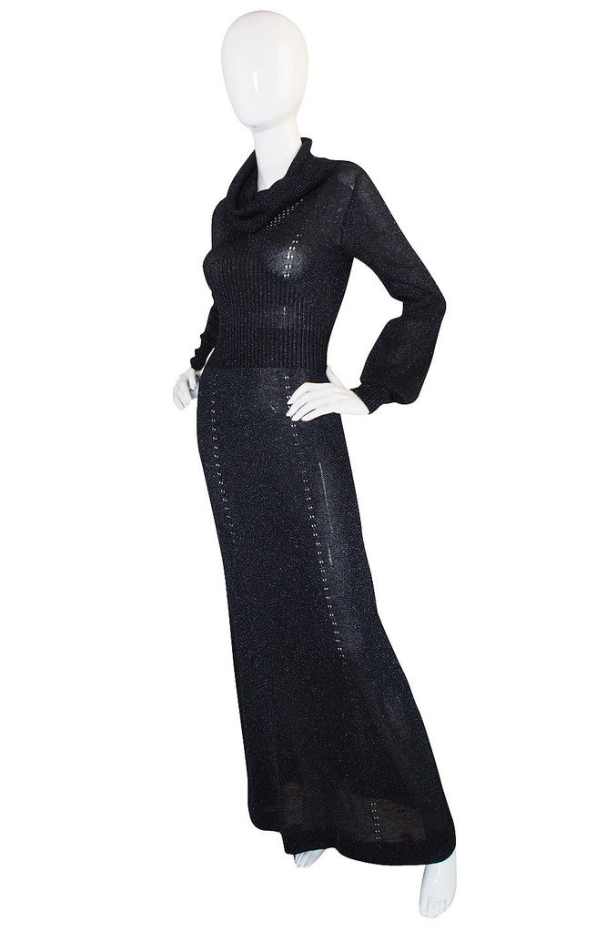 1970s Supermodel Length Wenjilli Metallic Black Dress