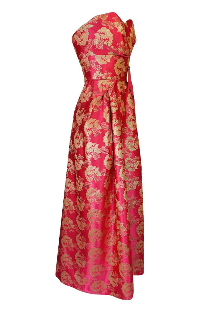 Beautiful 1950s Helena Barbieri Strapless Pink & Gold Silk Brocade Dress