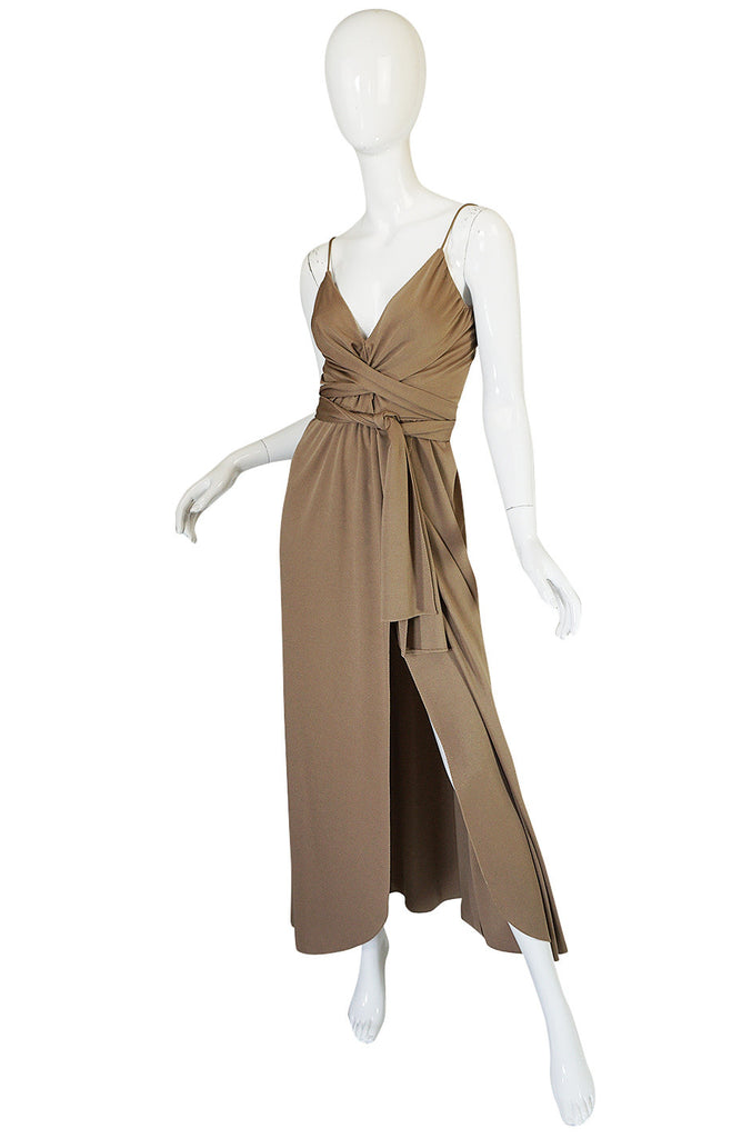 1970s Stephen Burrows  Slinky Taupe Jersey Wrap Dress
