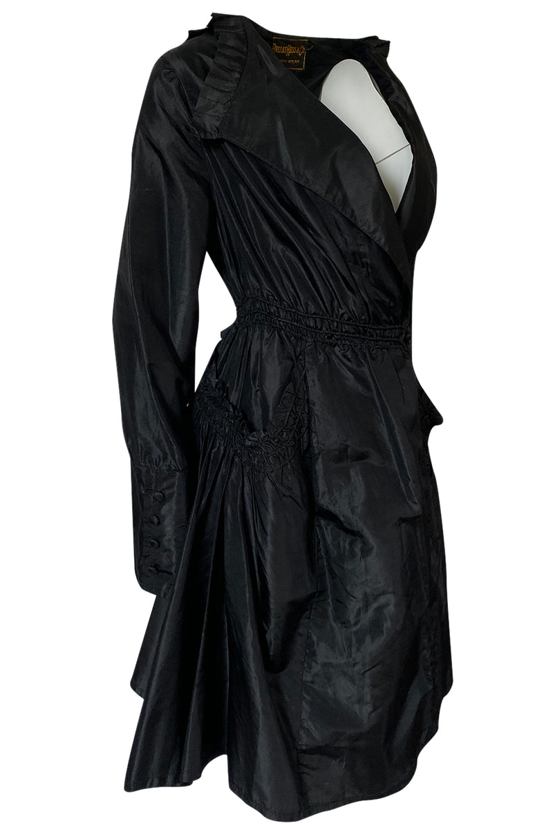 Teens or 1920s Ballas Hess Black Silk Jacket w Gorgeous Pockets & Sleeves