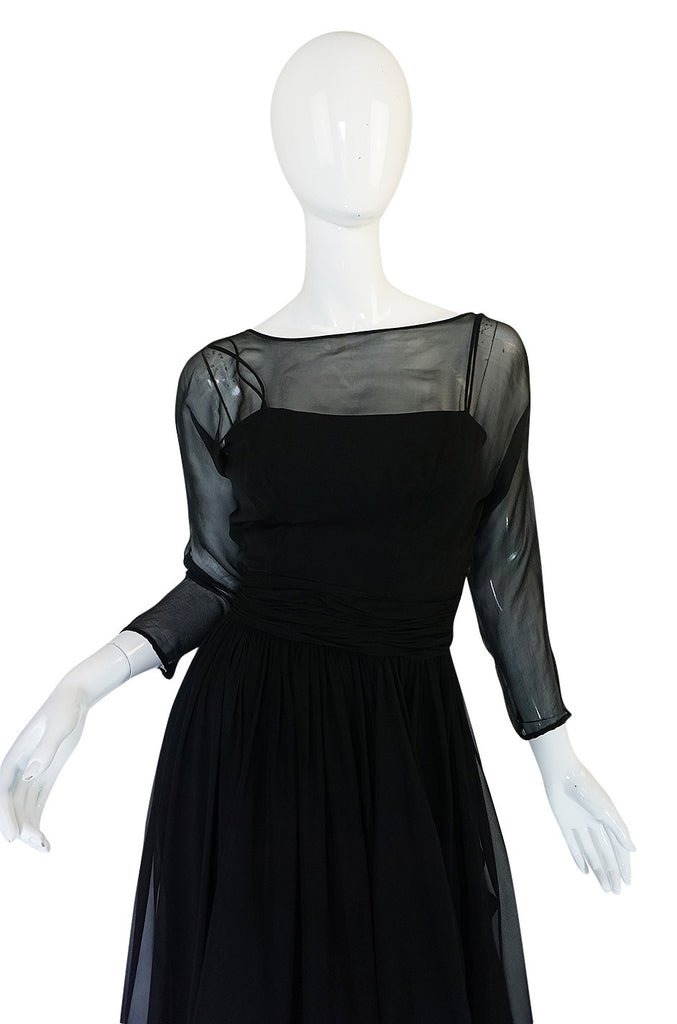 Pretty 1950s Black Silk Chiffon Bullock's Wilshire Dress