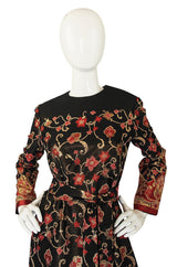 1960s Adele Simpson Metallic Floral Dress