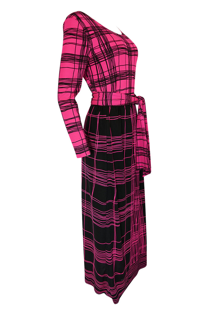 1970s Mr. Dino Pink Graphic Print Jersey Body Suit & Skirt Set