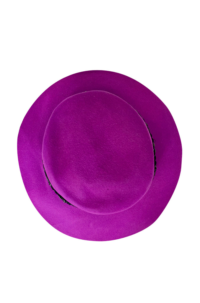 Wonderful c1997 Yves Saint Laurent Purple Felt Hat w Braided Band