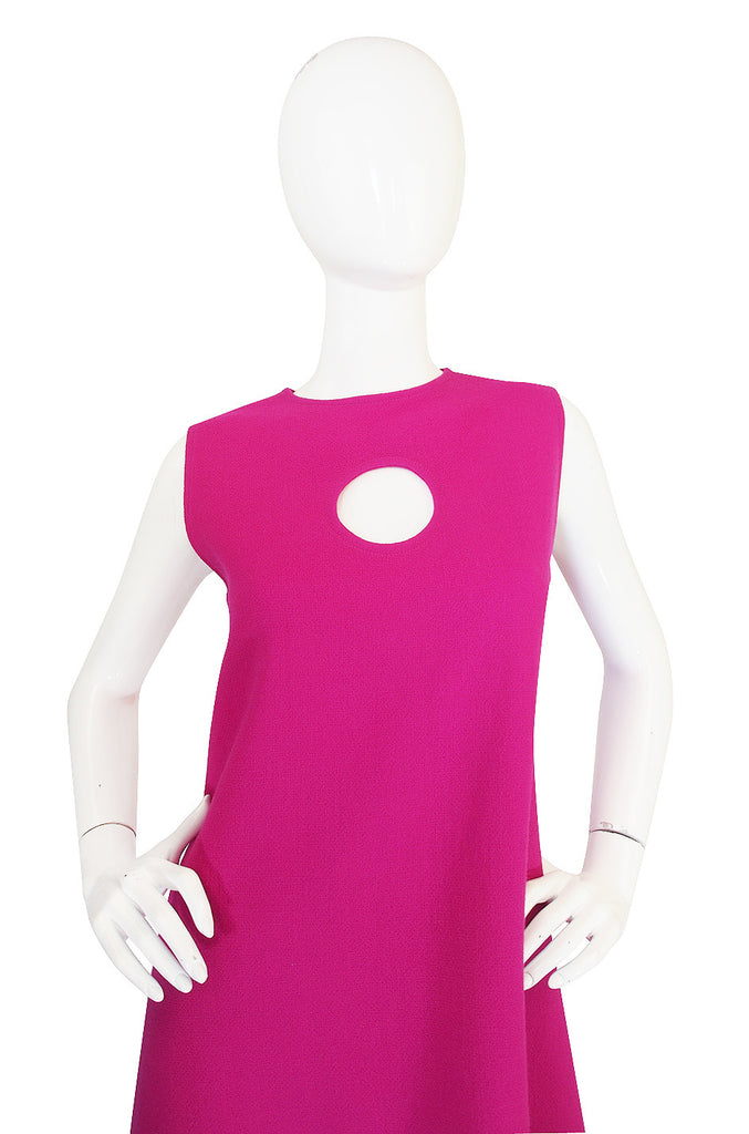 1990s Pink Keyhold Pierre Cardin Shift Dress
