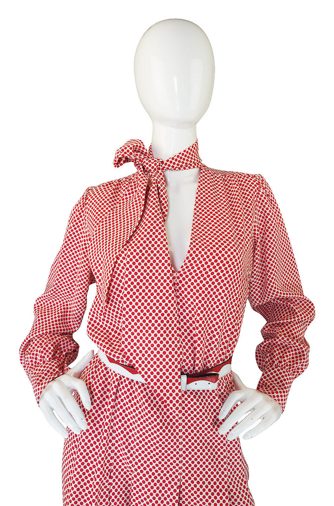 1970s Yves Saint Laurent Dot Dress & Belt