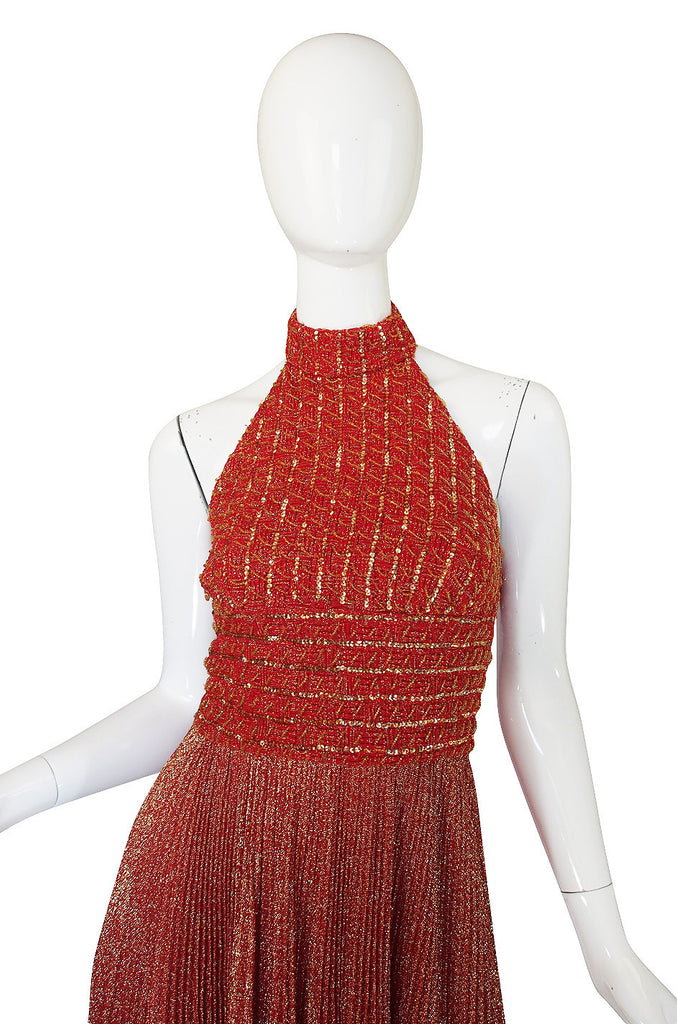 1970s Mignon Red Lame Gold Halter Dress