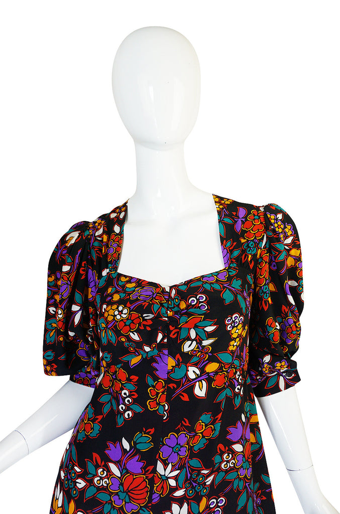 Early 1970s Silk Floral Yves Saint Laurent Dress