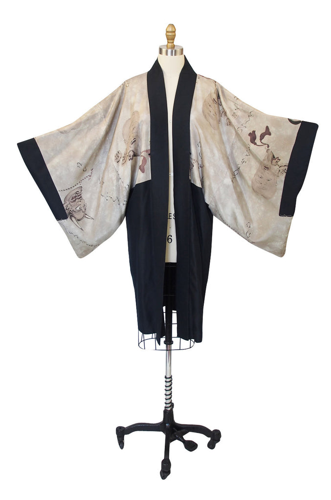 1950s Kimono with Painted Devils & Faces