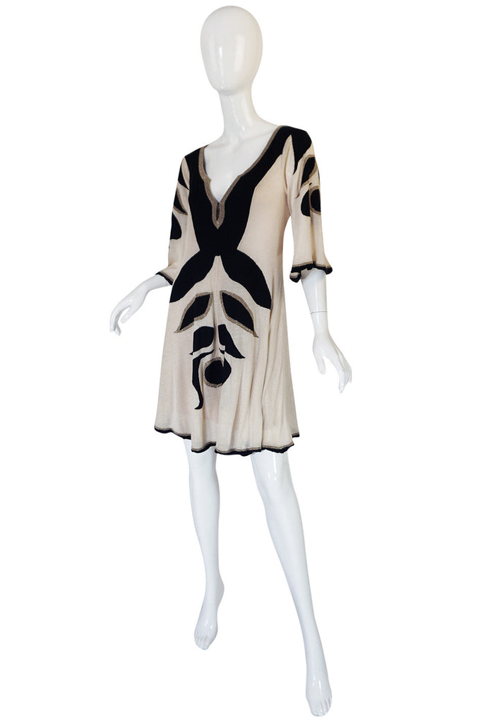Early 2000s Alice Temperly Silk Knit Plunging Dress