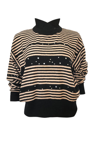 1980s Sonia Rykiel Pink & Black Sweater w Rhinestone Embelishments