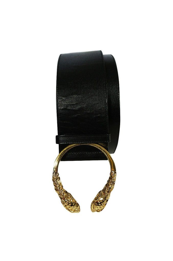 Tom Ford for Gucci Black Leather Gold Tiger Head Belt